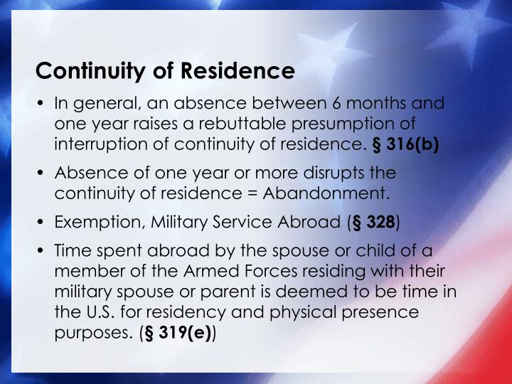 Continuity of Residence