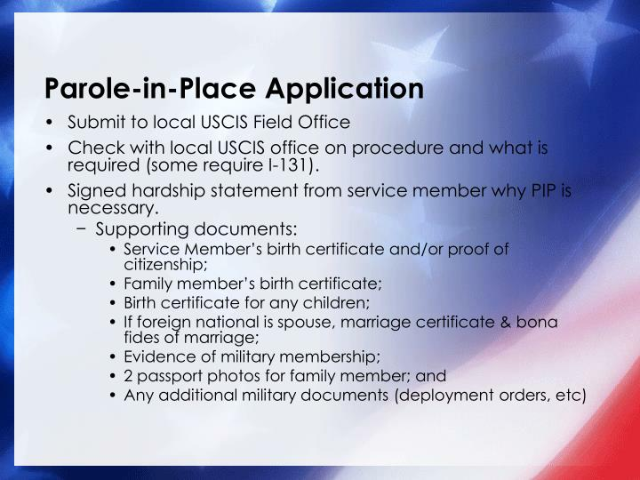 Parole-in-Place Application