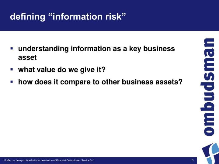 """defining """"information risk"""""""