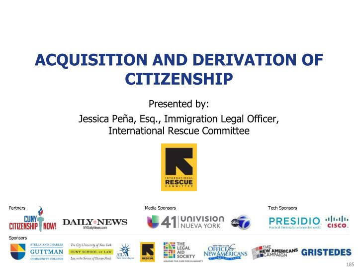 Acquisition and Derivation of Citizenship