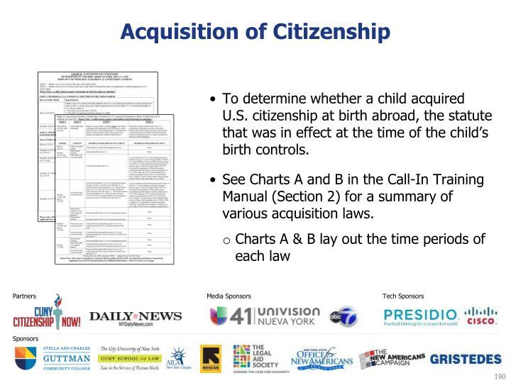 Acquisition of Citizenship