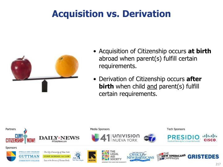 Acquisition vs. Derivation
