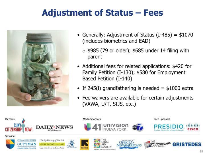 Adjustment of Status – Fees