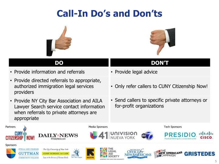 Call-In Do's and Don'ts