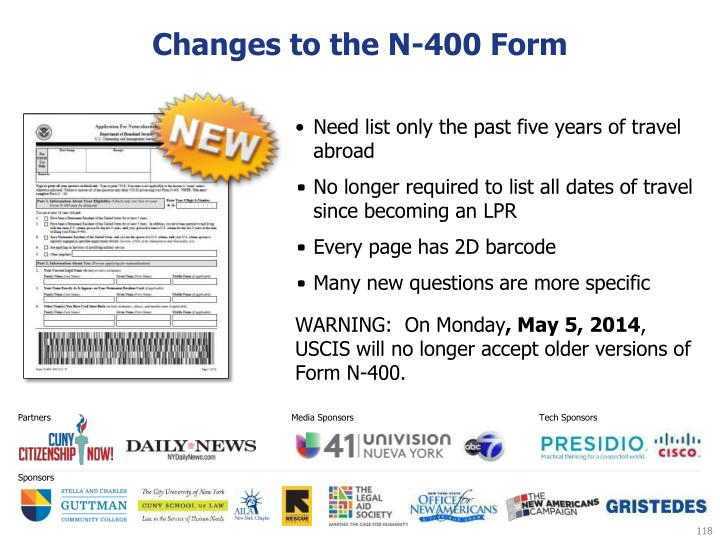 Changes to the N-400 Form