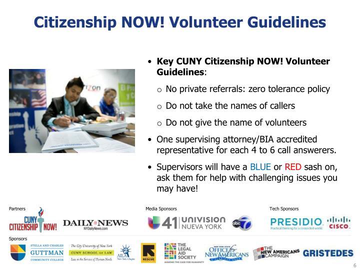 Citizenship NOW! Volunteer Guidelines