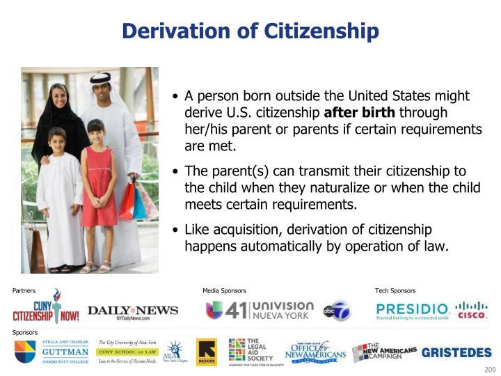 Derivation of Citizenship