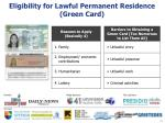 eligibility for lawful permanent residence green card