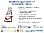 eligibility requirements for adjustment of status