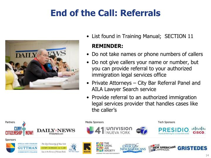 End of the Call: Referrals
