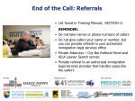 end of the call referrals