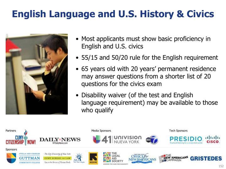 English Language and U.S. History & Civics