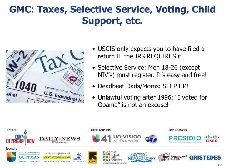 GMC: Taxes, Selective Service, Voting, Child Support, etc.