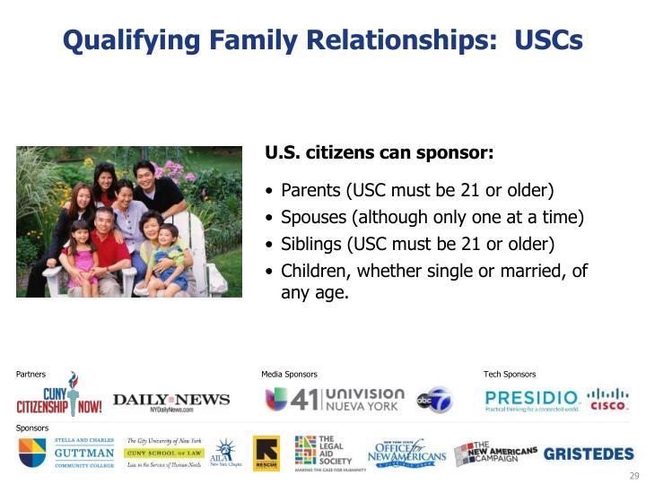 Qualifying Family Relationships:  USCs