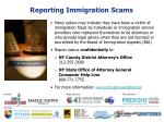 reporting immigration scams