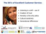 the do s of excellent customer service