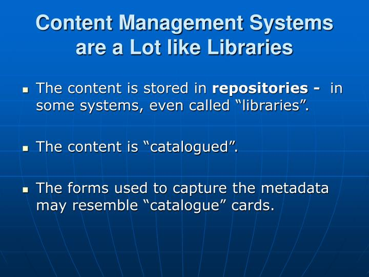 Content Management Systems are a Lot like Libraries