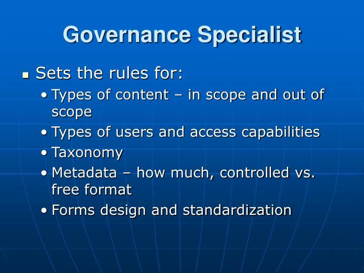 Governance Specialist