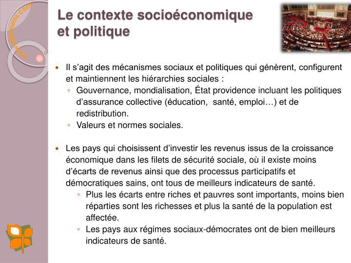 Le contexte socioéconomique