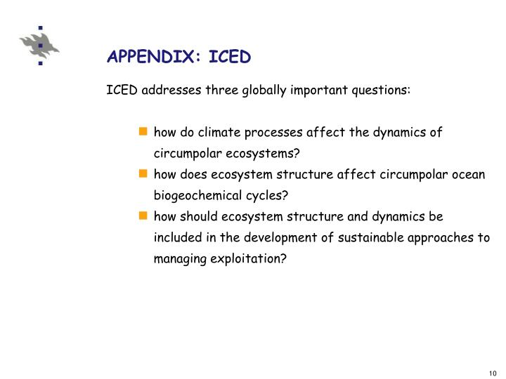 APPENDIX: ICED