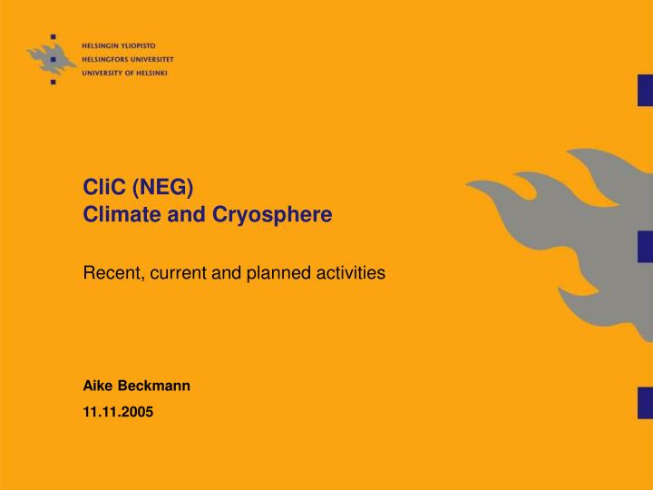Clic neg climate and cryosphere