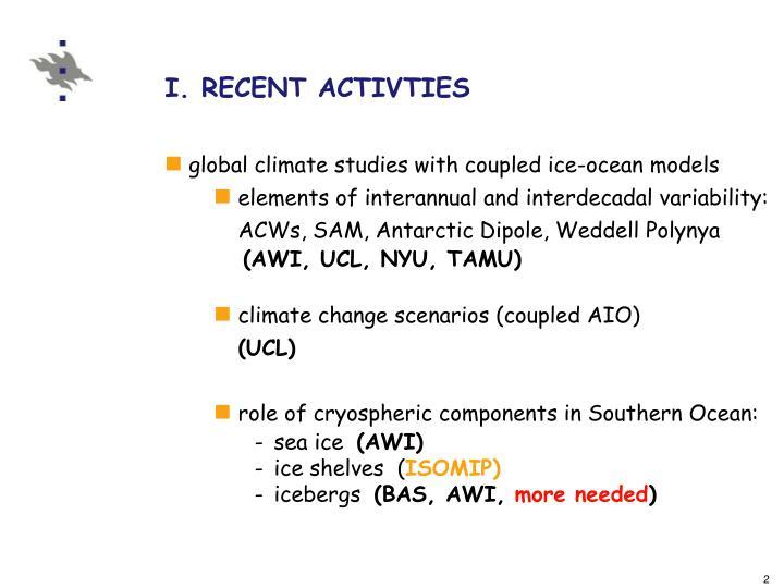 I. RECENT ACTIVTIES