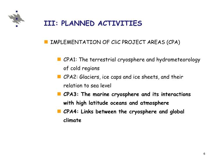 IMPLEMENTATION OF CliC PROJECT AREAS (CPA)