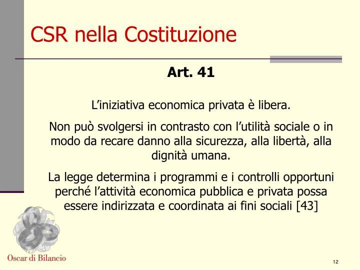 CSR nella Costituzione