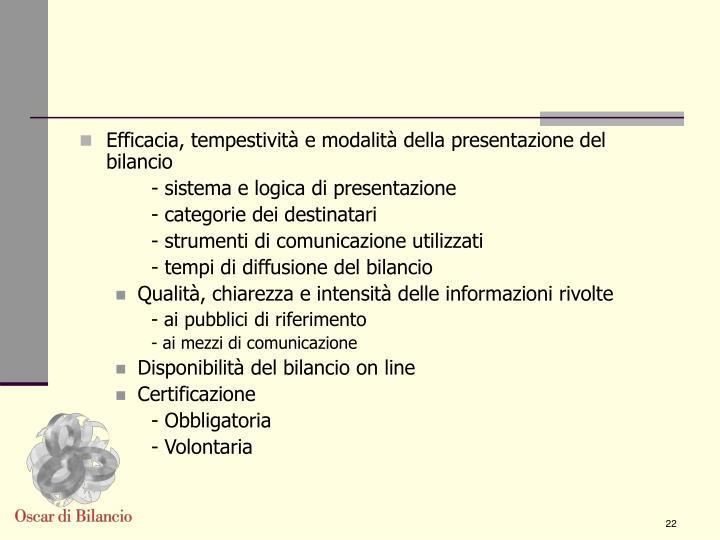 Efficacia, tempestività e modalità della presentazione del bilancio