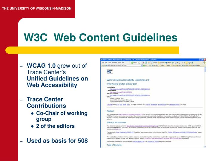 W3C  Web Content Guidelines