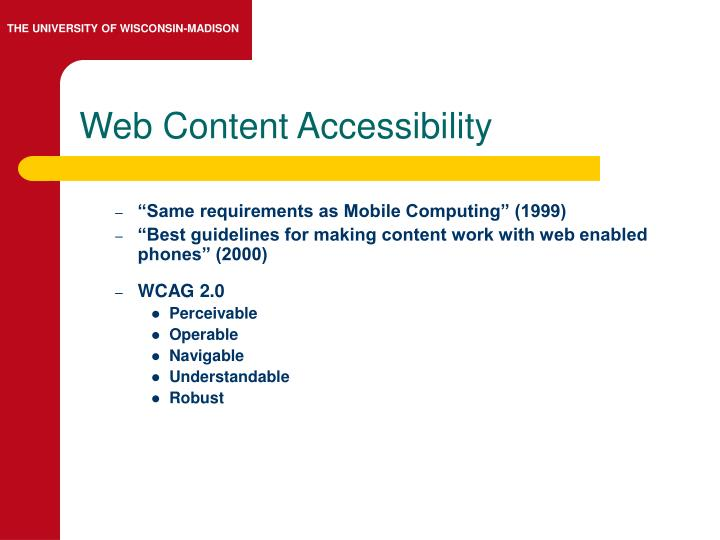 Web Content Accessibility
