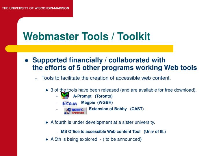 Webmaster Tools / Toolkit
