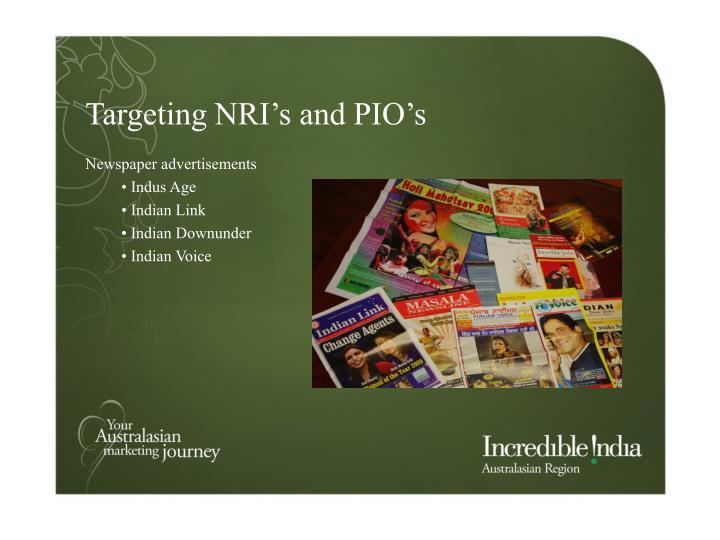 Targeting NRI's and PIO's