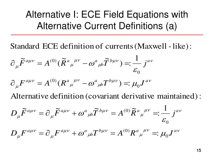 Alternative I: ECE Field Equations with Alternative Current Definitions (a)
