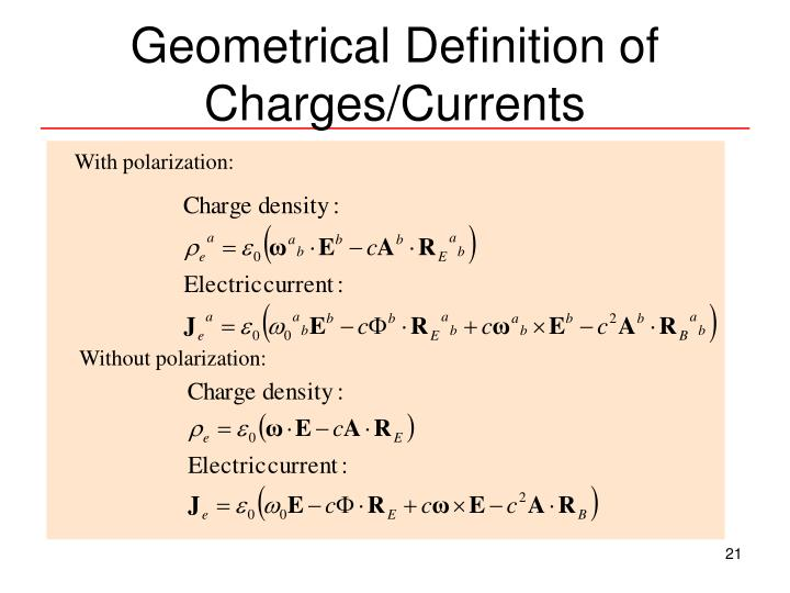 Geometrical Definition of Charges/Currents