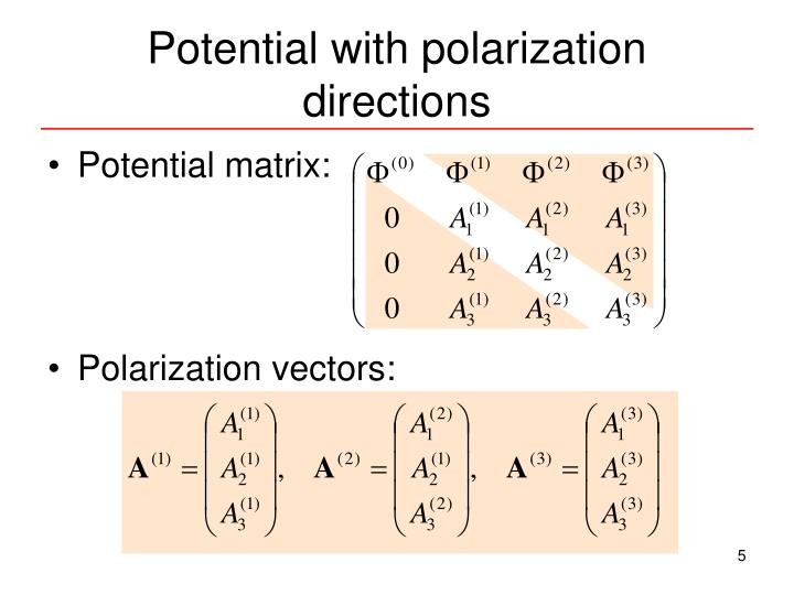 Potential with polarization directions