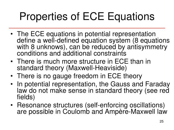 Properties of ECE Equations