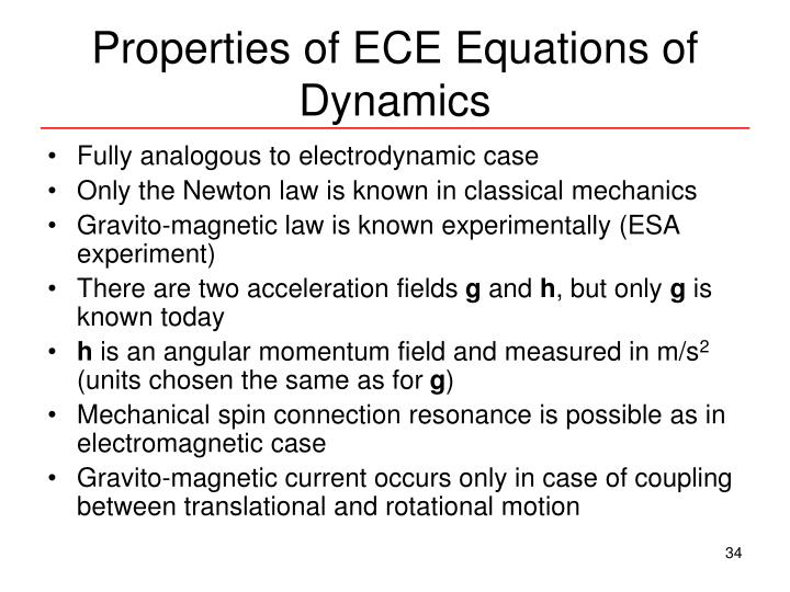 Properties of ECE Equations of Dynamics