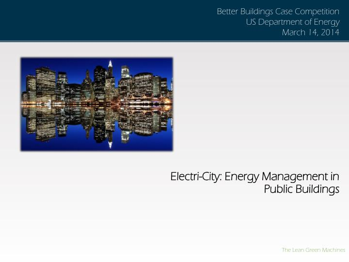 Electri city energy management in public buildings