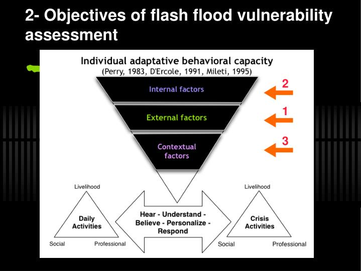 2 objectives of flash flood vulnerability assessment
