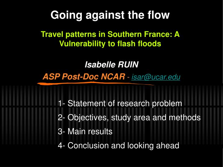Going against the flow travel patterns in southern france a vulnerability to flash floods