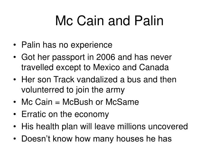 Mc Cain and Palin
