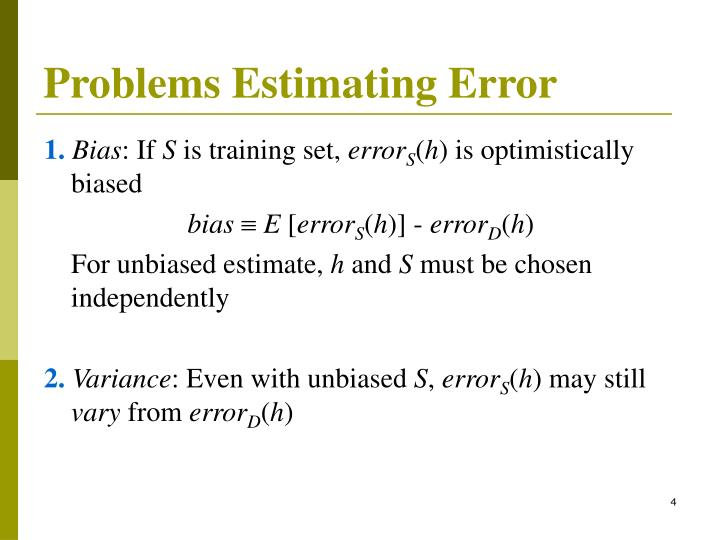 Problems Estimating Error