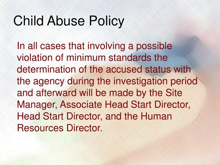 Child Abuse Policy