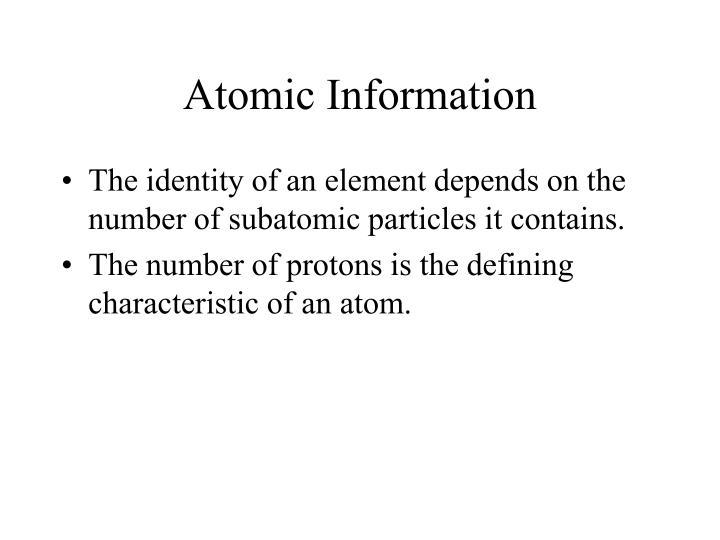 Atomic Information