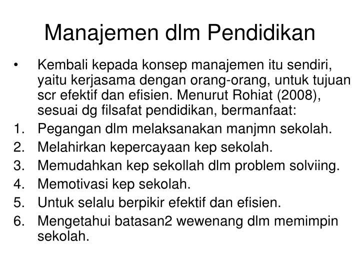 Manajemen dlm Pendidikan