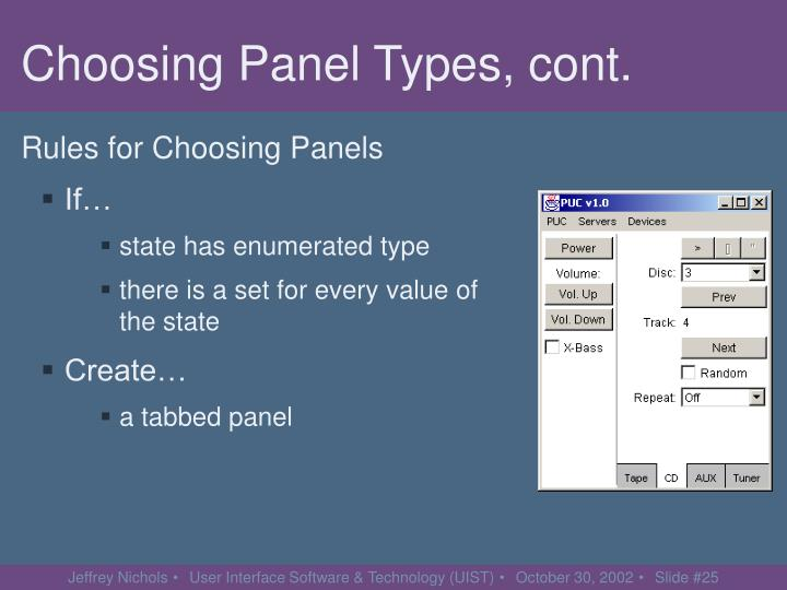 Choosing Panel Types, cont.