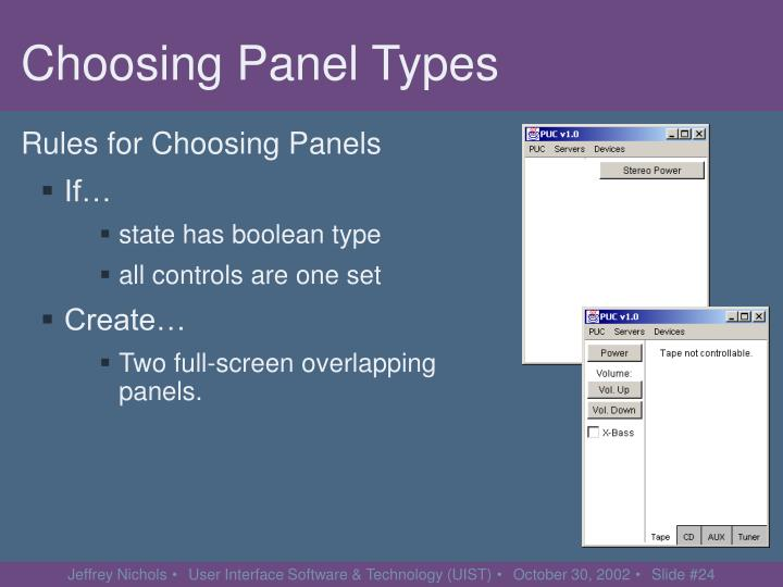 Choosing Panel Types