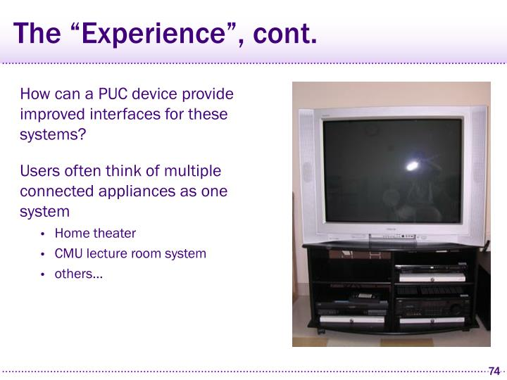 """The """"Experience"""", cont."""