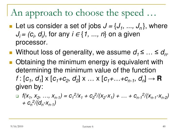 An approach to choose the speed …